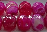 CAG9056 15.5 inches 15*20mm faceted oval line agate beads