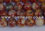 CAG9101 15.5 inches 6mm round red crazy lace agate beads