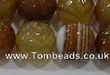 CAG9216 15.5 inches 14mm faceted round line agate gemstone beads