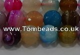 CAG9258 15.5 inches 10mm faceted round line agate beads wholesale