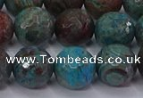 CAG9484 15.5 inches 12mm faceted round blue crazy lace agate beads