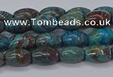 CAG9510 15.5 inches 5*8mm rice blue crazy lace agate beads
