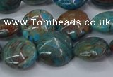 CAG9515 15.5 inches 14mm flat round blue crazy lace agate beads