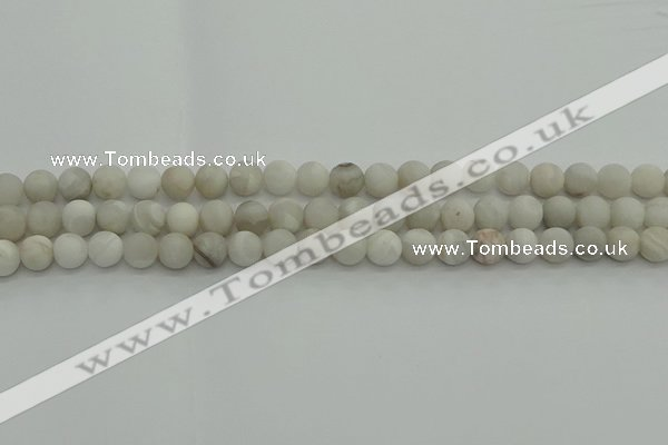 CAG9701 15.5 inches 6mm round matte grey agate beads wholesale