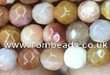 CAG9810 15.5 inches 4mm faceted round wood agate beads wholesale
