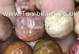 CAG9814 15.5 inches 12mm faceted round wood agate beads