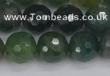 CAG9827 15.5 inches 12mm faceted round moss agate beads