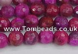 CAG9876 15.5 inches 6mm faceted round fuchsia crazy lace agate beads
