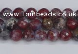 CAG9903 15.5 inches 4mm faceted round red lightning agate beads