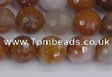 CAG9913 15.5 inches 10mm faceted round red moss agate beads