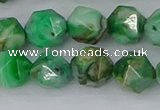 CAG9965 15.5 inches 10mm faceted nuggets green crazy lace agate beads