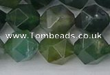 CAG9972 15.5 inches 12mm faceted nuggets moss agate beads