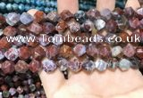 CAG9988 15.5 inches 8mm faceted nuggets red lightning agate beads