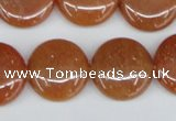 CAJ166 15.5 inches 20mm flat round red aventurine jade beads
