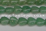CAJ684 15.5 inches 10*10mm heart green aventurine beads