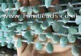 CAM1696 Top drilled 8*12mm faceted briolette amazonite beads