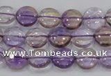 CAN42 15.5 inches 14mm flat round natural ametrine gemstone beads