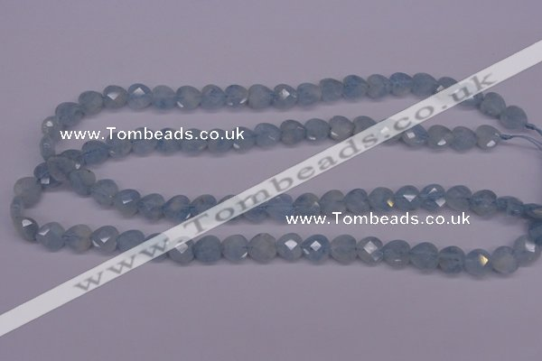 CAQ155 15.5 inches 10*10mm faceted heart natural aquamarine beads