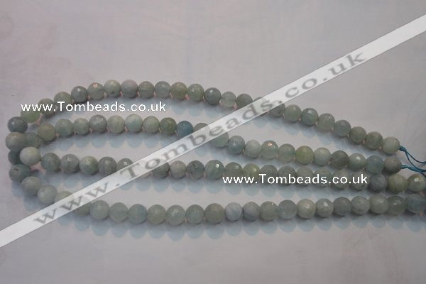 CAQ221 15 inches 5mm faceted round aquamarine beads wholesale