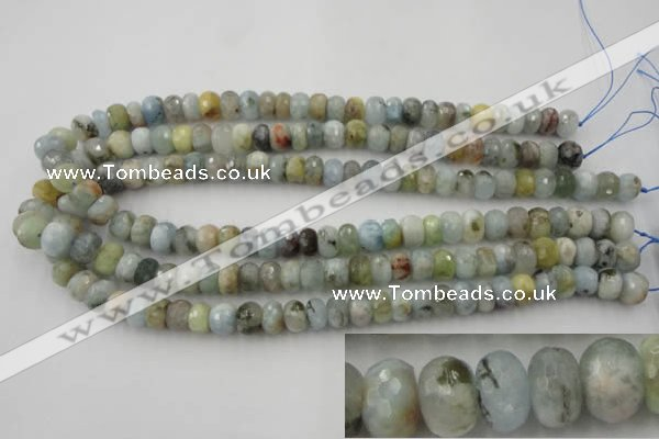CAQ352 15.5 inches 6*10mm faceted rondelle natural aquamarine beads