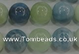 CAQ474 15.5 inches 14mm round natural aquamarine beads