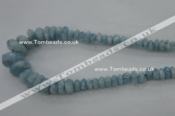 CAQ61 5*8mm – 10*16mm faceted nuggets natural aquamarine beads