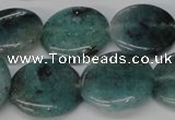 CAQ623 15.5 inches 20mm flat round aquamarine gemstone beads
