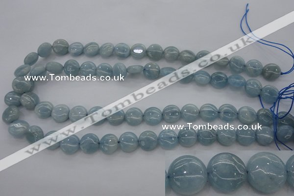 CAQ68 15.5 inches 12*12mm flat round natural aquamarine beads wholesale