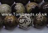 CAR57 15.5 inches 18mm round yellow artistic jasper beads
