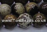 CAR58 15.5 inches 20mm round yellow artistic jasper beads