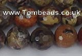 CBD372 15.5 inches 12mm faceted round brecciated jasper beads