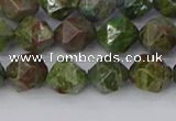 CBG109 15.5 inches 8mm faceted nuggets bronze green gemstone beads