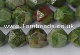CBG110 15.5 inches 10mm faceted nuggets bronze green gemstone beads