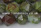 CBG111 15.5 inches 12mm faceted nuggets bronze green gemstone beads