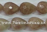 CBQ230 15.5 inches 16*20mm faceted teardrop strawberry quartz beads