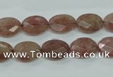 CBQ252 15.5 inches 10*14mm faceted oval strawberry quartz beads