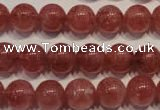 CBQ353 15.5 inches 10mm round natural strawberry quartz beads