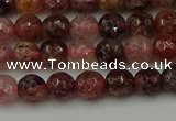 CBQ411 15.5 inches 6mm faceted round strawberry quartz beads