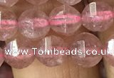 CBQ690 15.5 inches 6mm faceted round strawberry quartz beads