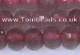 CBQ701 15.5 inches 6mmm faceted round strawberry quartz beads
