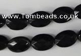 CBS310 15.5 inches 10*14mm faceted oval blackstone beads wholesale