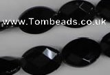 CBS312 15.5 inches 13*18mm faceted oval blackstone beads wholesale