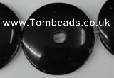 CBS340 15.5 inches 40mm donut blackstone beads wholesale