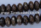 CBZ66 15.5 inches 7*14mm faceted rondelle bronzite gemstone beads