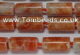 CCA465 15.5 inches 8*16mm tube orange calcite gemstone beads