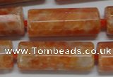 CCA470 15.5 inches 12*30mm faceted tube orange calcite gemstone beads