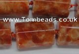 CCA471 15.5 inches 15*22mm faceted tube orange calcite gemstone beads