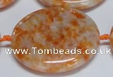 CCA480 15.5 inches 40mm flat round orange calcite gemstone beads