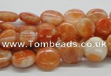 CCA54 15.5 inches 12mm flat round orange calcite gemstone beads