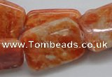 CCA60 15.5 inches 22*30mm rectangle orange calcite gemstone beads